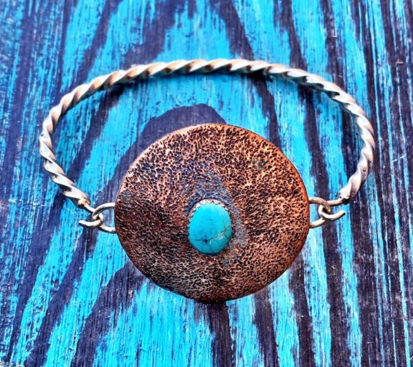 Hammered Copper w/Turquoise