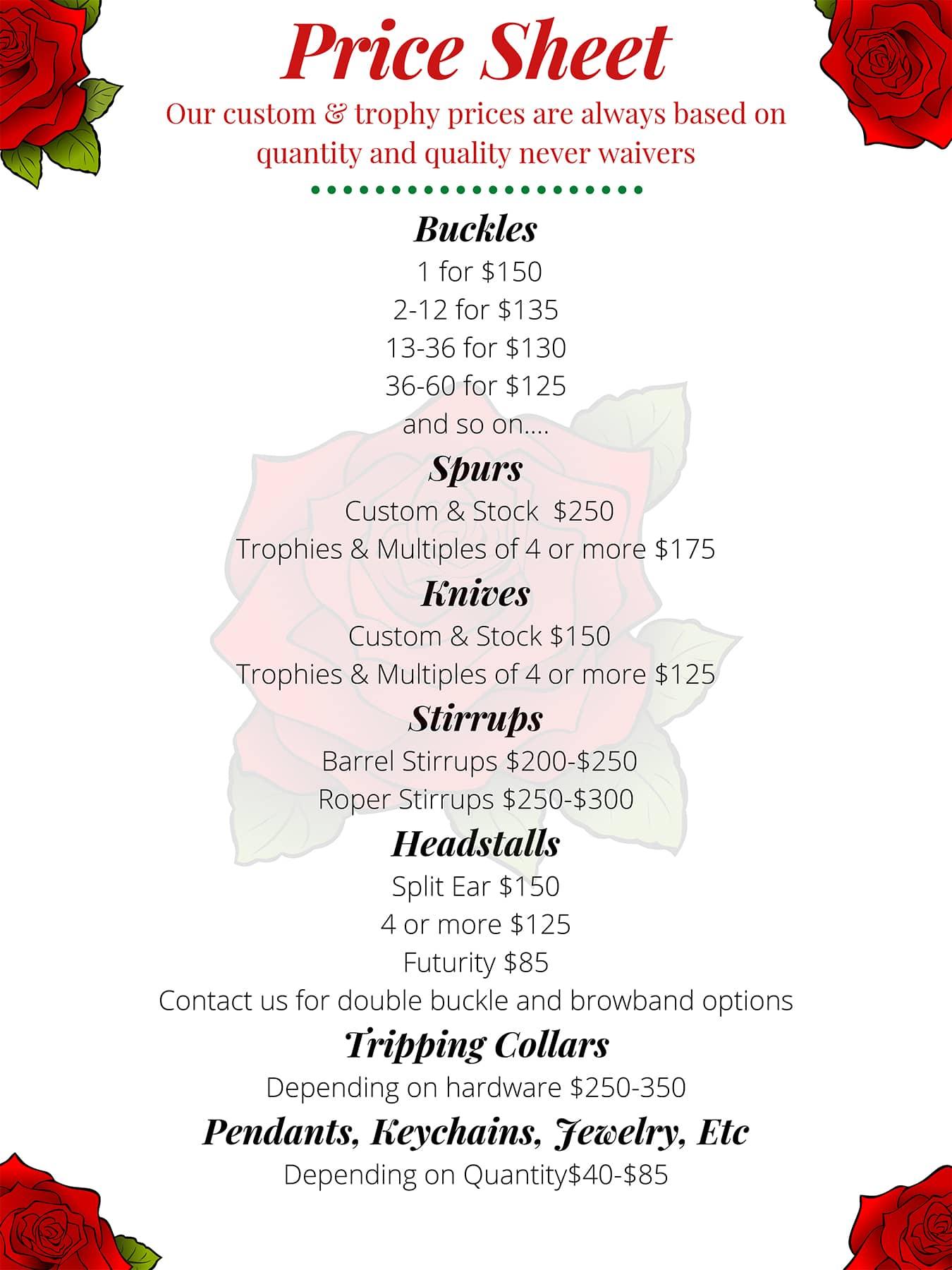 Custom-order-price-sheet