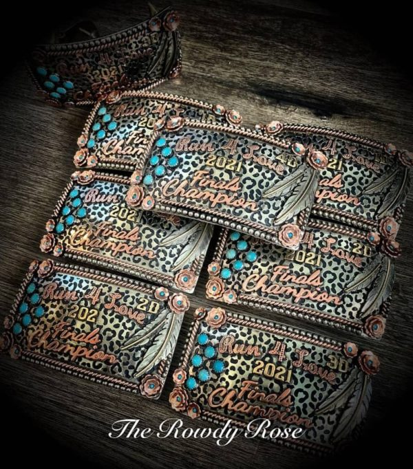 cheetah and turquoise stone buckle