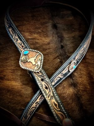 tooled-longhorn-headstall