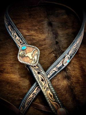 tooled-longhorn-headstall