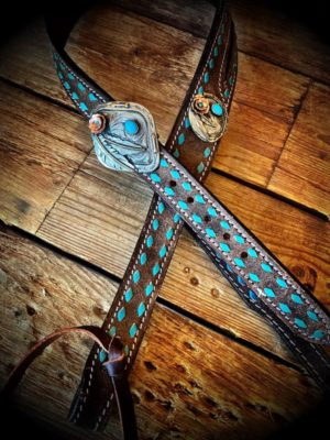 Chocolate & Turquoise Headstall