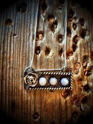 Copper Pearl Bar Necklace