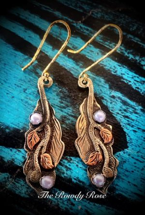silver and copper ivy earrings