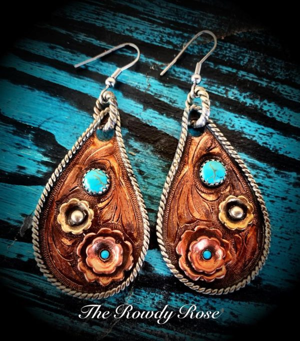copper and turquoise arrings
